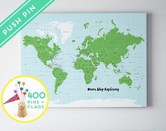 World Map Pin Board Etsy - World map canada and usa