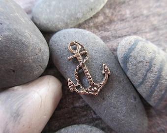 Anchor charm 100% Pure Bronze 12mm x 16mm-- nautical pendant bronze beach charm ocean charm AN03-B