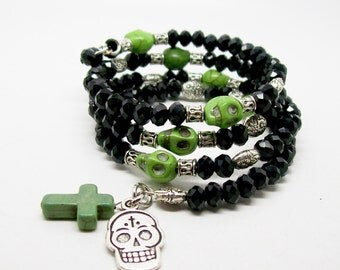 Sugar Skull Wrap Bracelet, Memory Bracelet, Day Of The Dead, Howlite Gemstone, Beaded Bracelet, Skull Jewelry
