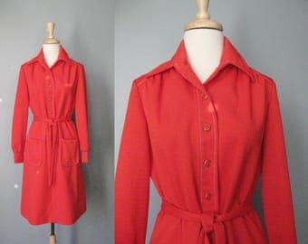 Simple Red Dress / Vtg 70s / Lerok Red Shirt Dress / Size Medium