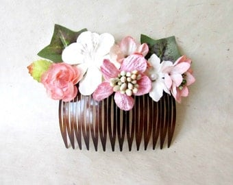 Flower Hair Comb, Wedding Comb, Rose Bridal Comb, Peach Floral Hair Comb, Pink Flower Hair Piece, Bridal Hair Accessory,  Romantic Hair Comb