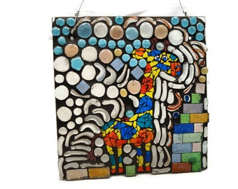 Glass Mosaic Giraffe Window Panel, Nursery Decor, Zoo Window, Giraffe Sun Catcher, Stained Glass Window, Whimsical Art Window, Mosaic