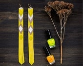 Long Leather Earrings yellow and grey, tribal geometric hippie jewelry, natural leather fashion jewelry, boho chic