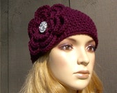 Crochet Flower Head Wrap Headband Earwarmer Winter Knit Cranberry Burgundy with Sparkle Button