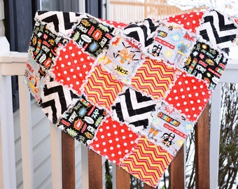 Baby Rag Quilt- Ready to ship Rag Quilt, baby shower gift, super hero rag quilt, baby boy rag quilt, red rag quilt, black rag quilt