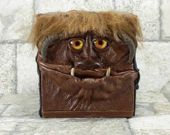 Labyrinth Tissue Box Holder Tissue Cover Brown Black Leather Four Faced Monster Harry Potter