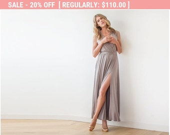 20% OFF Taupe wrap dress, Dress with wide skirt , Taupe sleeveless gown 1058