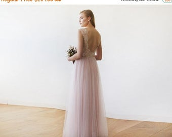 Spring Sale Pink Blush Tulle and Lace Sleeveless Maxi Gown 1145