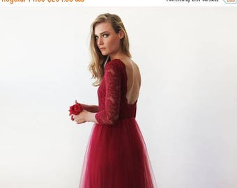 30% OFF - Blush Birthday Bordeaux tulle and lace open back gown, Lace  backless and tulle gown 1122
