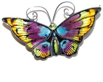 David Andersen Enamel Butterfly Brooch Vintage Jewelry Basse Taille Sterling Modernist Scandinavian Design Made in Norway