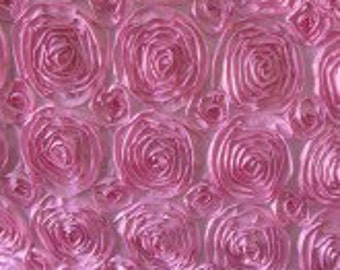 Satin Rosette Pink 52 Inch Fabric by the Yard - 1 yard