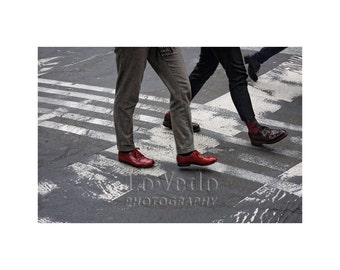 Paris Crosswalk, People Walking, Black, White, Red, Paris Photography, Street Scene