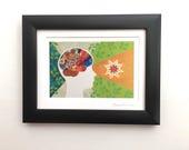 Framed Fiber Art Neuro Art Print Gift for Doctor, Pyschologist, Therapist, Neuroscientist, Meditation