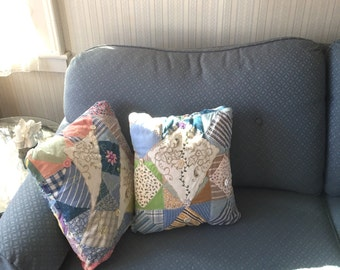 Crazy Quilted  Decorative Throw Pillows - set of two - Hand Embroidered Boho Gypsy from vintage quilt top