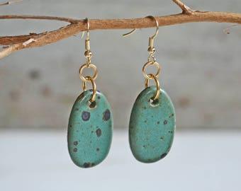 ON SALE ** Ceramic Earrings - Small Oval - Dangle Earrings - Ceramic Jewelry - Ceramic Jewellery - Earrings - Speckled Earrings