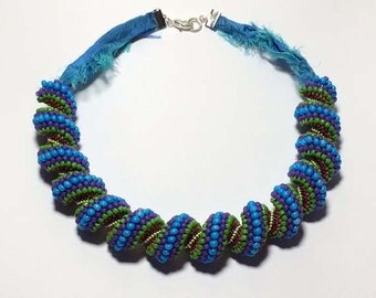Bead Spiral Necklace Woven Bead Necklace Tubular Necklace Cellini Spiral Woven Bead Spiral Bead Woven Rope Cellini Spiral Rope Peyote Stitch