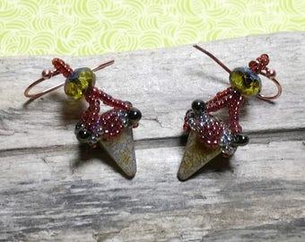 Beadwork Earrings Red Beaded  Earrings Seed Bead Earrings Bead Dangle Earrings Bead Woven Earrings Gold Bead Earrings Dagger Drop Earrings