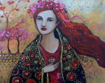 Acrylic painting 30x30cm acrylic on canvas,romantic boho woman