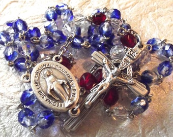 September/Sapphire Crystal Catholic Rosary