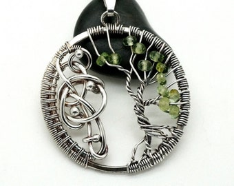Wire wrapped tree of life, Tree of life pendant, Green tourmaline pendant, Pendant with green tourmaline