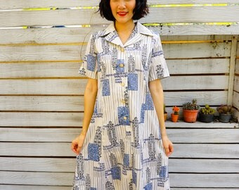 Vintage Dress, Vintage 1980s Dress, Vintage Japanese Dress, Vintage Writing Dress, Retro Clothing, Letter Dress,  Roman Design Dress