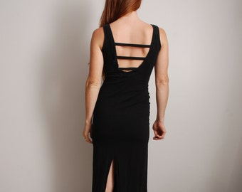 90s XS Moda Intl long black sexy body con tight sleeveless womens vintage dress clothing leg slit no back cut out 1990 summer outfit