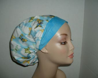 Butterfly Blue sky Clouds Bouffant surgical OR scrub Hat