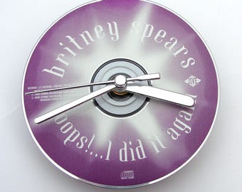 Britney Spears CD Clock, Oops I Did It Again, Made from an recycled cd, Fun gift, for women, girls, co worker, purple white silver