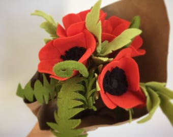 Poppies and Fiddlehead Fern Flower arrangement  Made to order