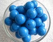 Bubblegum Beads, 10 pcs 20mm Medium Peacock Blue Chunky Necklace Beads, Gumball Beads, Acrylic Bead, Plastic Bead, Round Bead