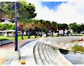 Watercolor Print - Wynnum Wading Pool 2 - Landscape