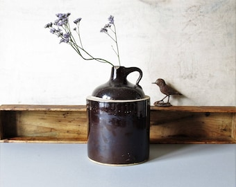 Vintage stoneware jug, rustic stoneware, kitchen decor, brown stoneware, country home decor, Sale price