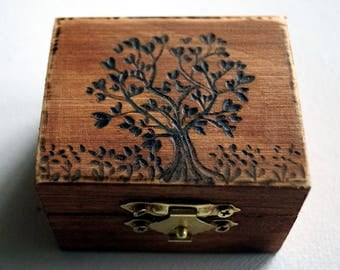 Rustic Wedding Wood Box Tree of Life Garden of Eden Love Birds Brown Bearer box Monogram Weddings Ring Proposal Anniversary Wood Burned Box