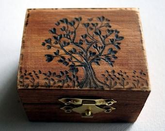 Rustic Wedding Wood Box Tree of Life Garden of Eden Love Birds Brown Bearer box Monogram Weddings Ring Proposal Anniversary Wood Burned Box