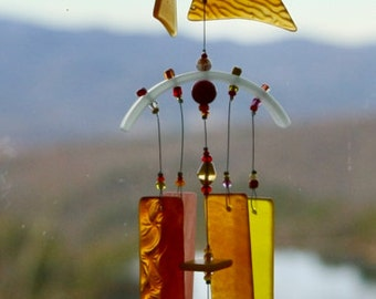 Recycled Glass Wind Chime,Wine Bottle,WindChime, Wedding, Beach Glass,Glass, Chime, Wind Chime.