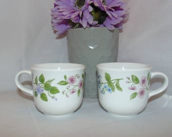 Two Vintage Corelle Coordinates Stoneware Coffee Cups Mugs Flowers
