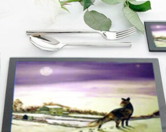 Table Mats Glass laminated with scene from my paintings