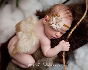 Baby angel wings, newborn angel wings, newborn photo prop, newborn photography prop, photo prop, gold newborn wings, newborn fairy wings,