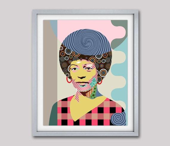Angela Davis Pop Art, Portrait, Political Activist Black Panthers, Black History, African American Activist Art Print