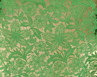 green guipure Lace Fabric, green venise Lace Fabric , Maple lace fabric ON SALE