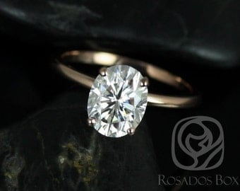 Rosados Box Ready to Ship Dakota 9x7mm 14kt Rose Gold Oval F1- Moissanite Thin Skinny Engagement Ring