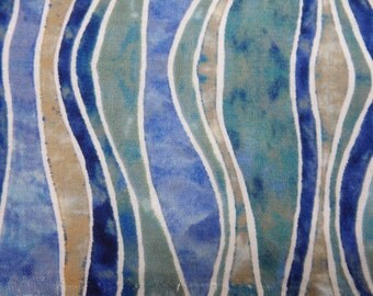 "Blue Batik-Like Stripes, Polynesian Waters Ocean Wave Quilting Cotton, Cerulean Blue Tones, by the Half Yard - 100% Cotton, 44-45"" Wide"