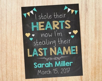 Adoption Announcement sign. custom personalized adoption day Chalkboard poster.  i stole their hearts now stealing last name adopt photo