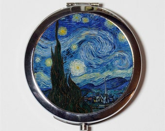 Starry Night Vincent Van Gogh Compact Mirror - Classic Fine Art Painting - Make Up Pocket Mirror for Cosmetics