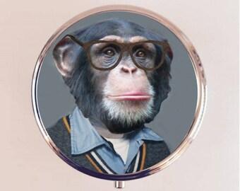 Monkey Nerd Pill Box Case Pillbox Holder Trinket Stash Box Pop Art Hipster Anthropomorphic Animal Art