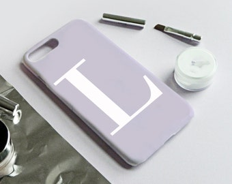 Pastel Purple and white monogram alphabet phone case - Samsung Galaxy S8, Samsung Galaxy S8 PLUS, iPhone 7 PLUS, iPhone SE, iPhone 6PLUS