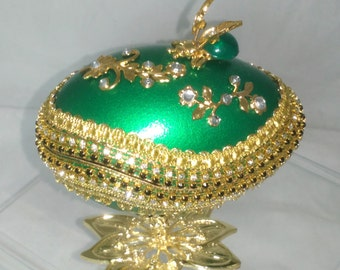 Decorated Goose Egg - Faberge Style - Green Bee - Unique Gift Item - Jewelry Box