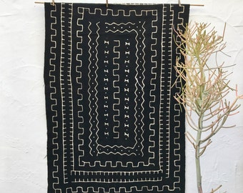 African Mudcloth Fabric, Mud cloth fabric, black and white mudcloth throw authentic mudcloth textile #27