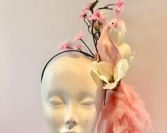 Pink Fascinator- Kentucky Oats- Flower Fascinator- Bird Headband- Pink Bird- Pink Feather Fascinator- Derby Fascinator- Kentucky Derby hat