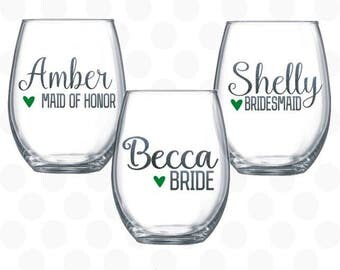 Bridesmaid stemless wine glasses, wedding party gifts for women, Bridesmaid gift, Bridesmaid Wine Glasses, Wedding gift, Bridal shower gift